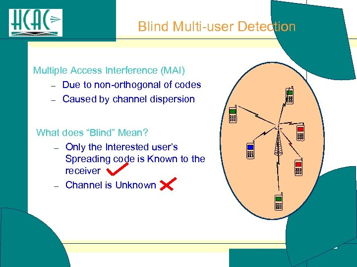 Blind Multi-user Detection Multiple Access Interference (MAI) – Due to non-orthogonal of codes –