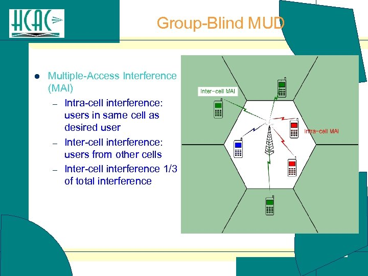 Group-Blind MUD l Multiple-Access Interference (MAI) – Intra-cell interference: users in same cell as