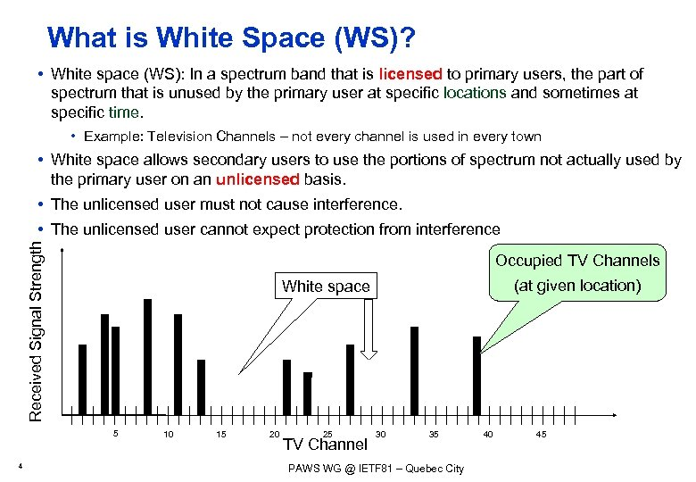 What is White Space (WS)? • White space (WS): In a spectrum band that