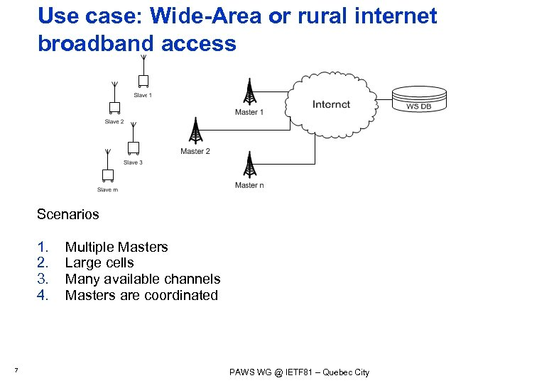 Use case: Wide-Area or rural internet broadband access Scenarios 1. 2. 3. 4. 7