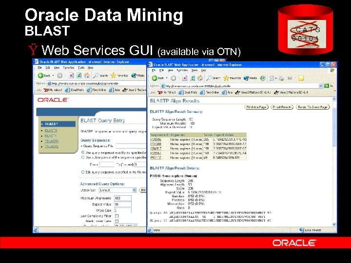 Oracle Data Mining BLAST Ÿ Web Services GUI (available via OTN) C A T
