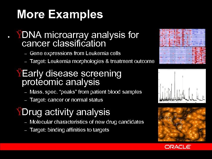 More Examples • ŸDNA microarray analysis for cancer classification – – Gene expressions from
