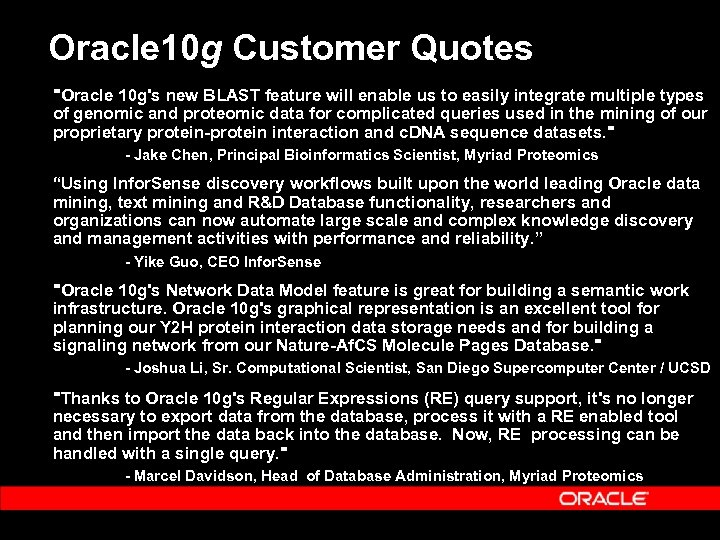 Oracle 10 g Customer Quotes