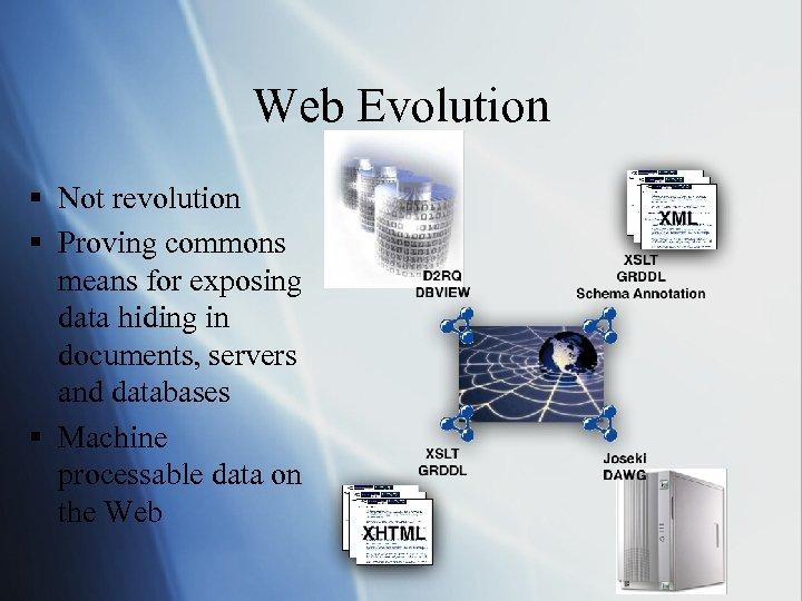 Web Evolution § Not revolution § Proving commons means for exposing data hiding in