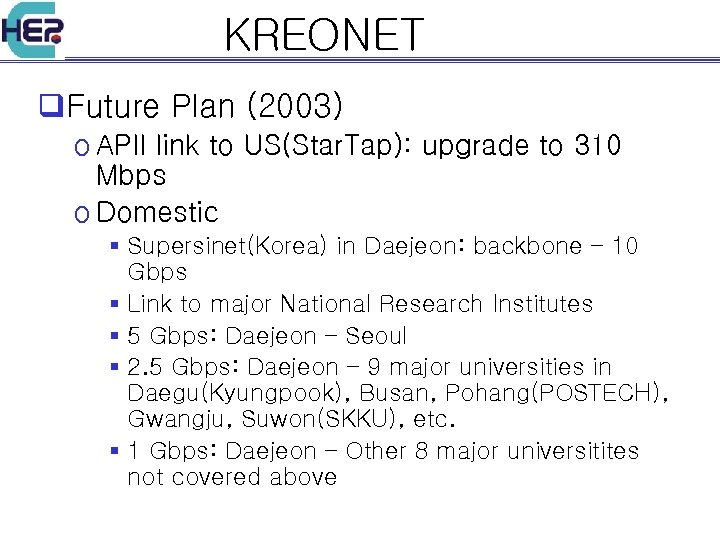 KREONET q. Future Plan (2003) o APII link to US(Star. Tap): upgrade to 310