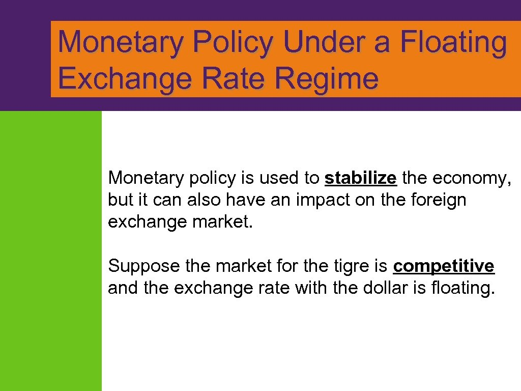 Monetary Policy Under a Floating Exchange Rate Regime Monetary policy is used to