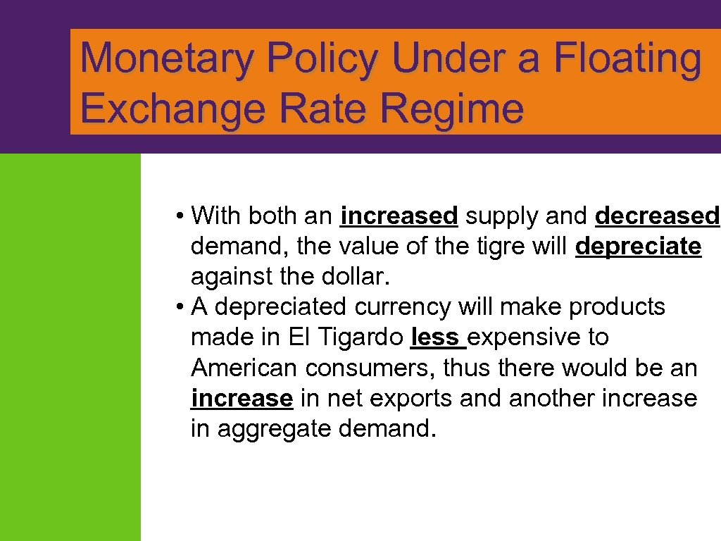 Monetary Policy Under a Floating Exchange Rate Regime • With both an increased