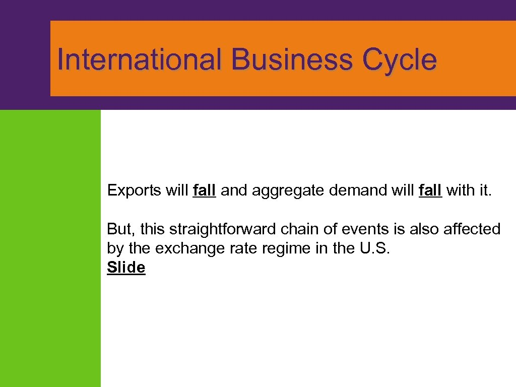 International Business Cycle Exports will fall and aggregate demand will fall with it.
