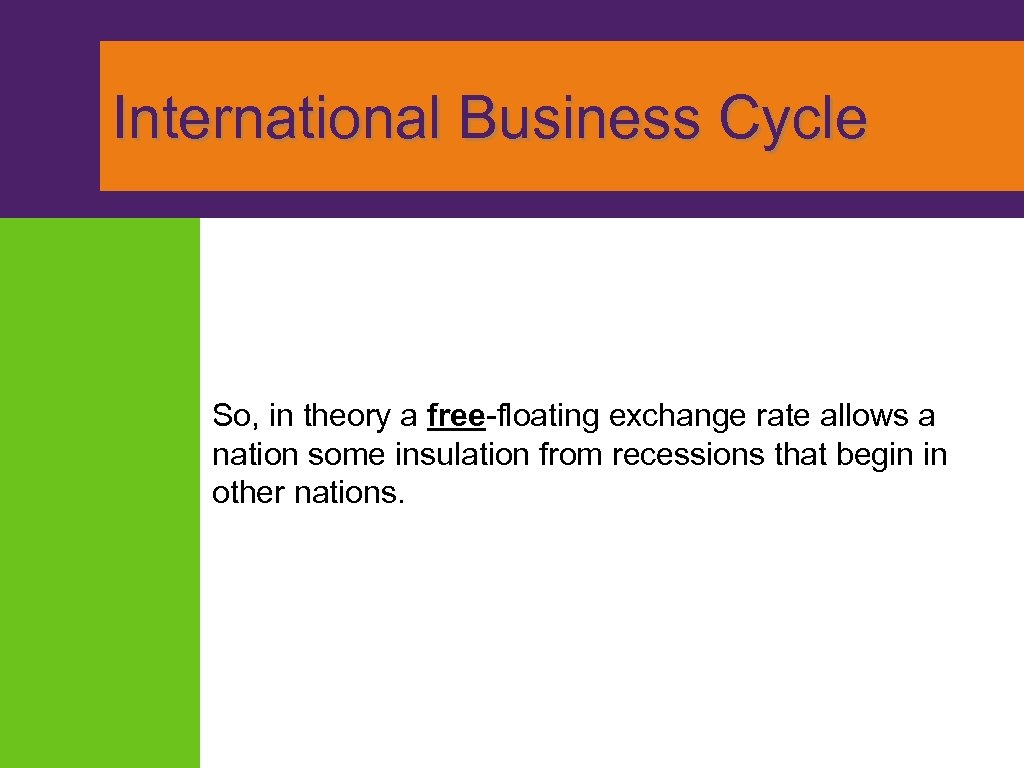 International Business Cycle So, in theory a free-floating exchange rate allows a nation
