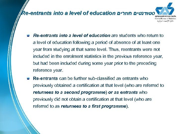 Re-entrants into a level of education סטודנטים חוזרים Re-entrants into a level of education