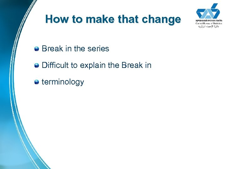 How to make that change Break in the series Difficult to explain the Break