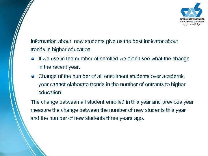 Information about new students give us the best indicator about trends in higher education