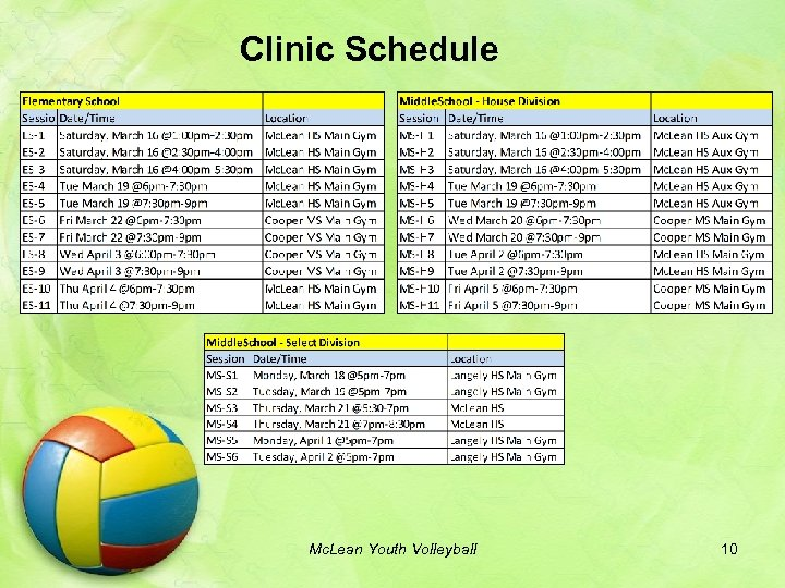 Clinic Schedule Mc. Lean Youth Volleyball 10