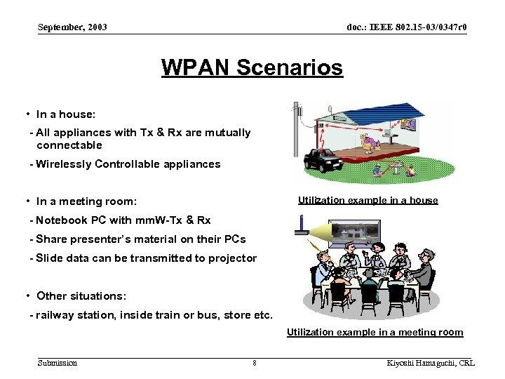 September, 2003 doc. : IEEE 802. 15 -03/0347 r 0 WPAN Scenarios • In