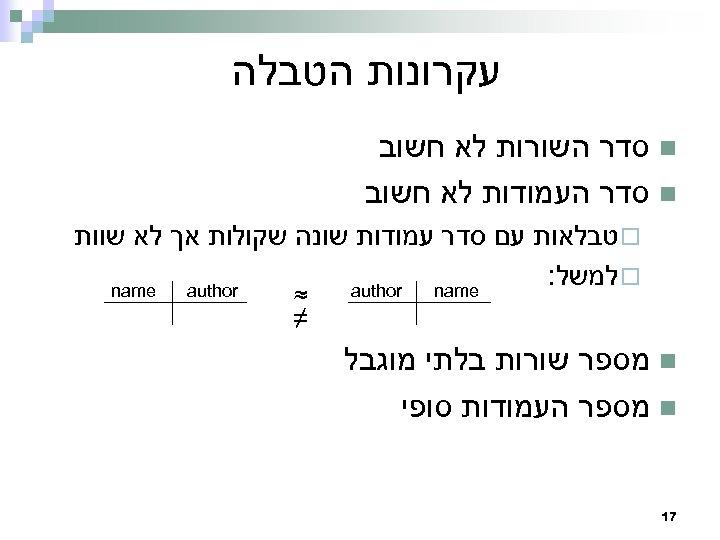 עקרונות הטבלה n סדר השורות לא חשוב n סדר העמודות לא חשוב ¨