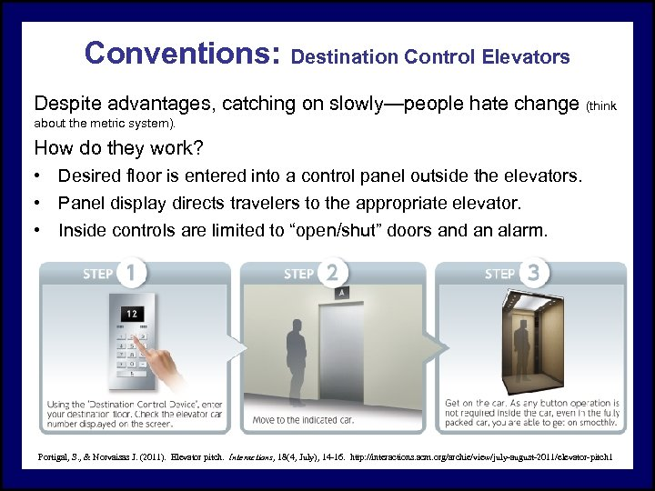 Conventions: Destination Control Elevators Despite advantages, catching on slowly—people hate change (think about the