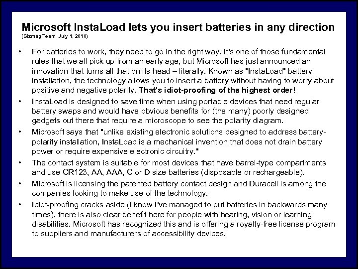 Microsoft Insta. Load lets you insert batteries in any direction (Gizmag Team, July 1,