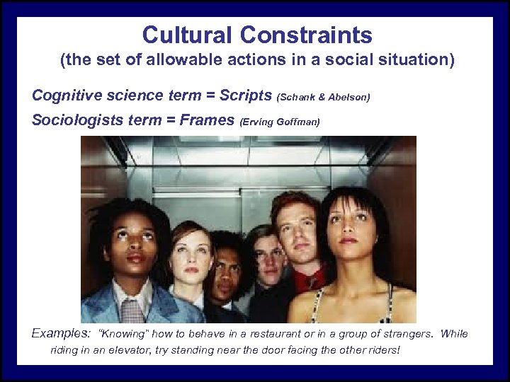 Cultural Constraints (the set of allowable actions in a social situation) Cognitive science term