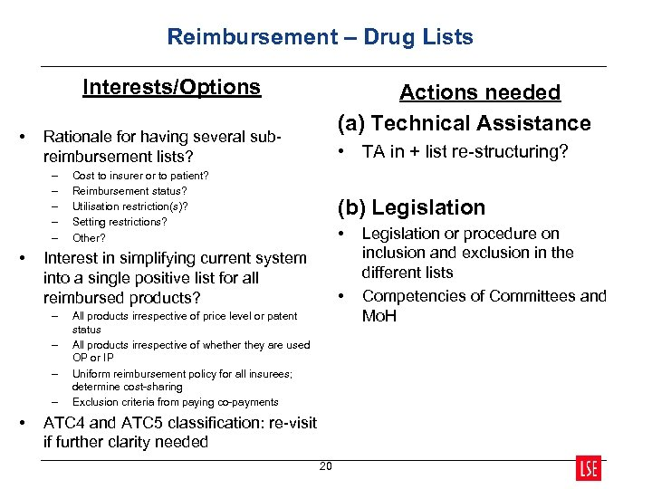 Reimbursement – Drug Lists Interests/Options • Rationale for having several subreimbursement lists? – –