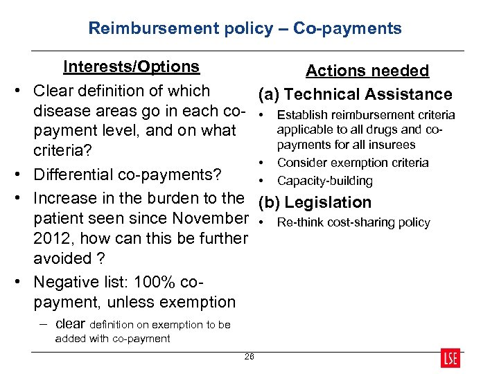 Reimbursement policy – Co-payments • • Interests/Options Actions needed Clear definition of which (a)