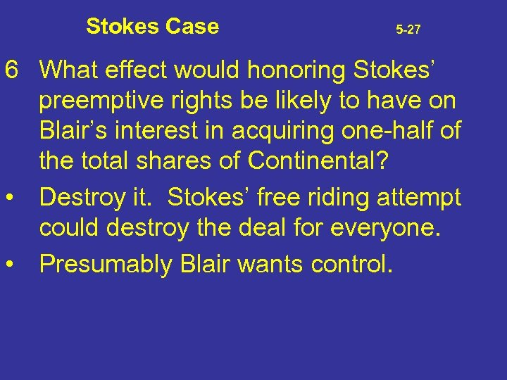 Stokes Case 5 -27 6 What effect would honoring Stokes' preemptive rights be likely