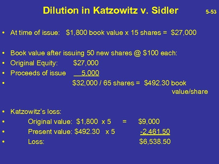 Dilution in Katzowitz v. Sidler 5 -53 • At time of issue: $1, 800