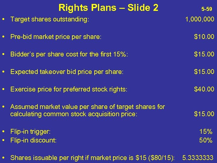 Rights Plans – Slide 2 • Target shares outstanding: 5 -59 1, 000 •