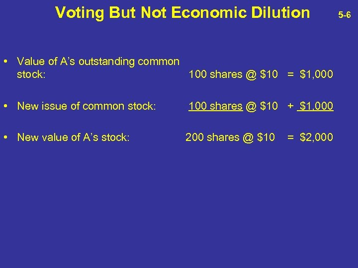 Voting But Not Economic Dilution • Value of A's outstanding common stock: 100 shares