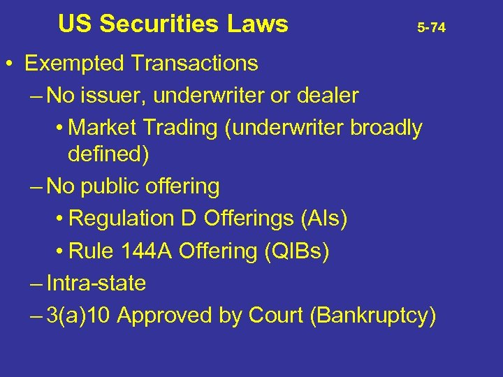 US Securities Laws 5 -74 • Exempted Transactions – No issuer, underwriter or dealer