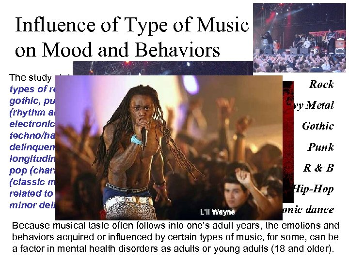 """Influence of Type of Music on Mood and Behaviors The study states: """"early fans"""