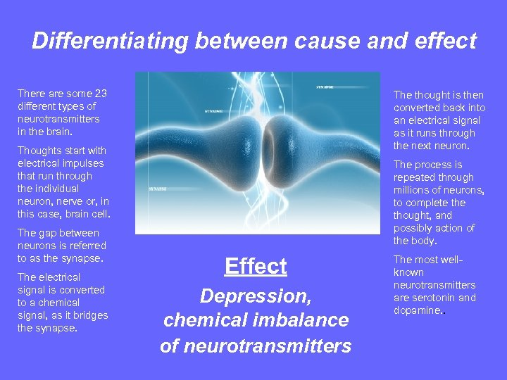 Differentiating between cause and effect There are some 23 different types of neurotransmitters in