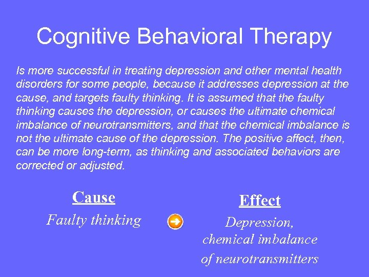 Cognitive Behavioral Therapy Is more successful in treating depression and other mental health disorders
