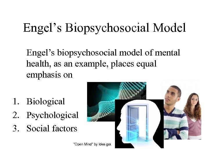 Engel's Biopsychosocial Model Engel's biopsychosocial model of mental health, as an example, places equal