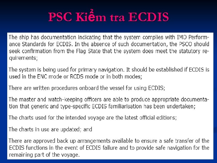 PSC Kiểm tra ECDIS