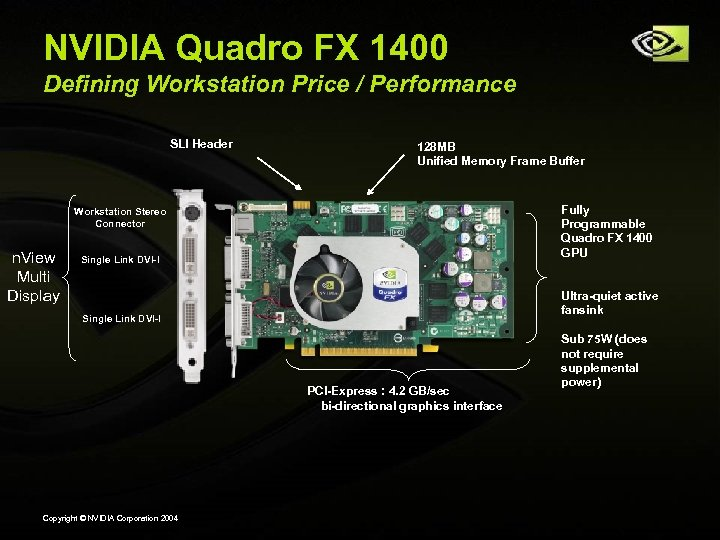 NVIDIA Quadro FX 1400 Defining Workstation Price / Performance SLI Header 128 MB Unified