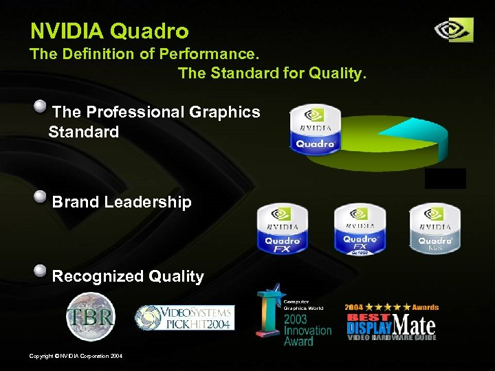 NVIDIA Quadro The Definition of Performance. The Standard for Quality. The Professional Graphics Standard