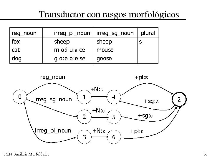 Transductor con rasgos morfológicos reg_noun fox cat dog irreg_pl_noun sheep m o: i u: