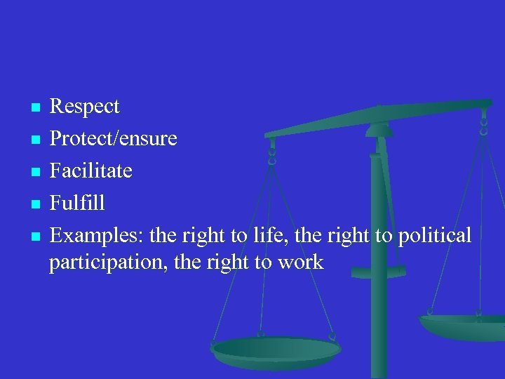 n n n Respect Protect/ensure Facilitate Fulfill Examples: the right to life, the right