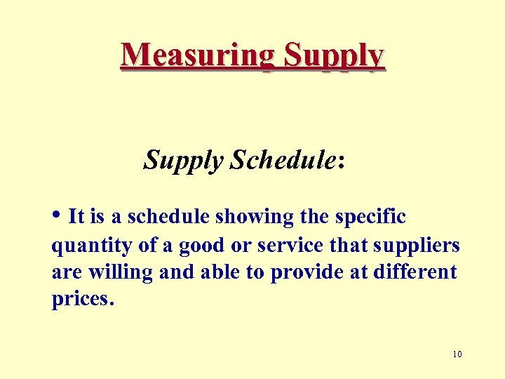 Measuring Supply Schedule: • It is a schedule showing the specific quantity of a