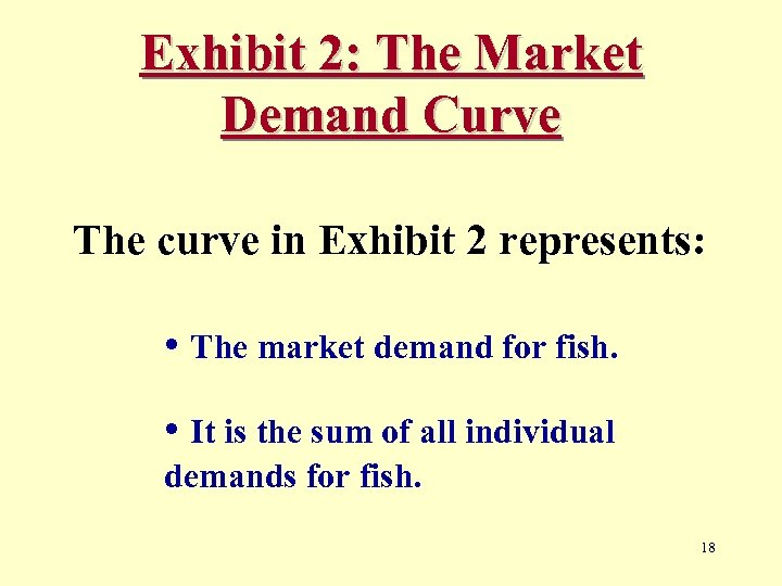 Exhibit 2: The Market Demand Curve The curve in Exhibit 2 represents: • The