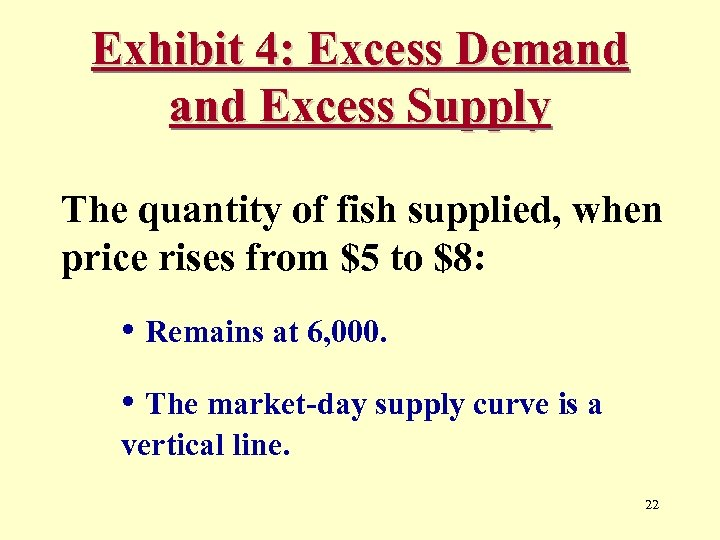 Exhibit 4: Excess Demand Excess Supply The quantity of fish supplied, when price rises