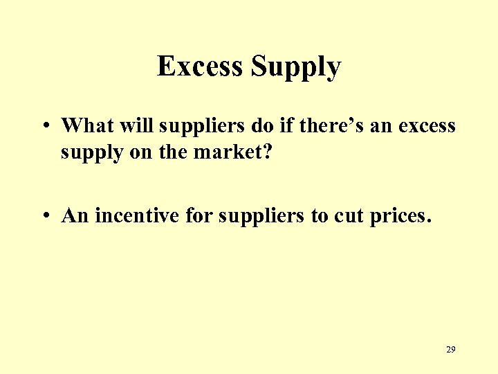 Excess Supply • What will suppliers do if there's an excess supply on the