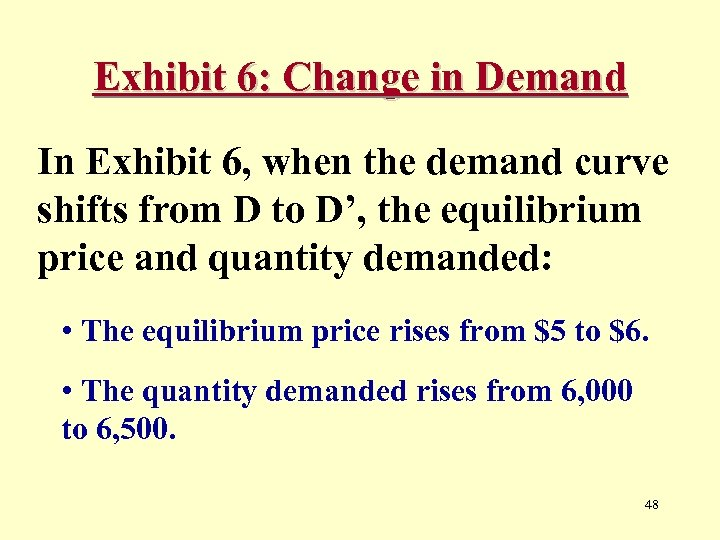 Exhibit 6: Change in Demand In Exhibit 6, when the demand curve shifts from