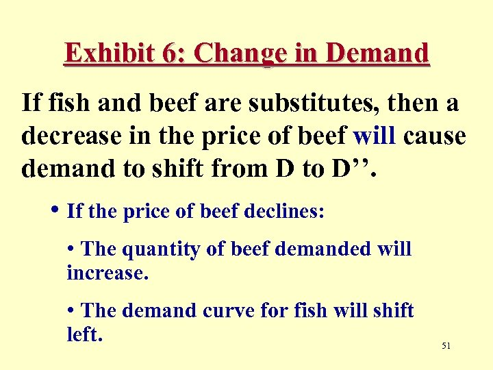 Exhibit 6: Change in Demand If fish and beef are substitutes, then a decrease