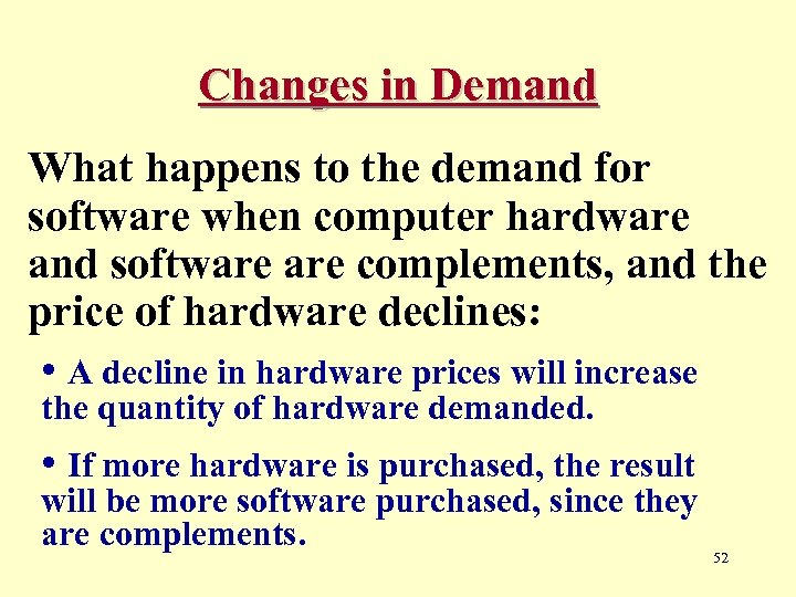 Changes in Demand What happens to the demand for software when computer hardware and