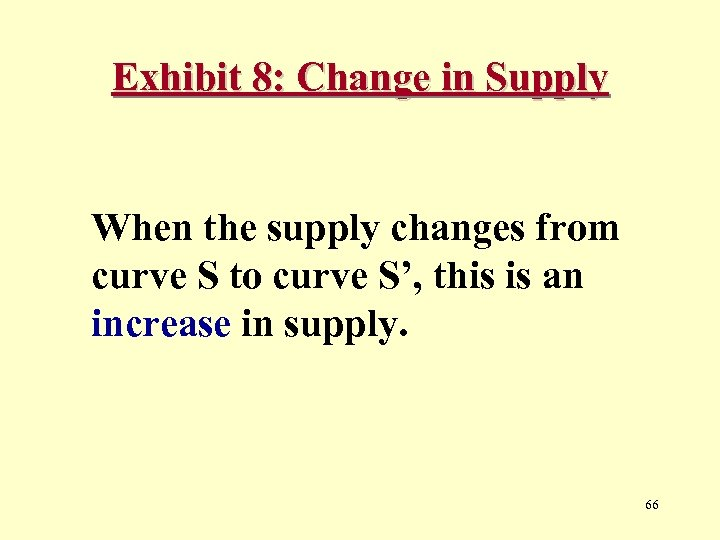 Exhibit 8: Change in Supply When the supply changes from curve S to curve
