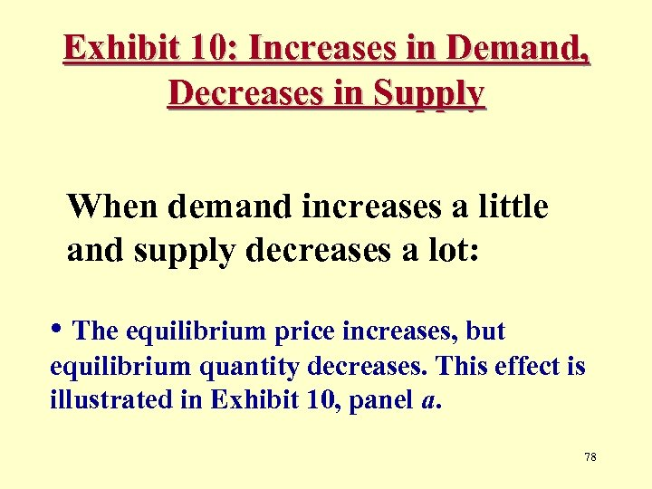 Exhibit 10: Increases in Demand, Decreases in Supply When demand increases a little and