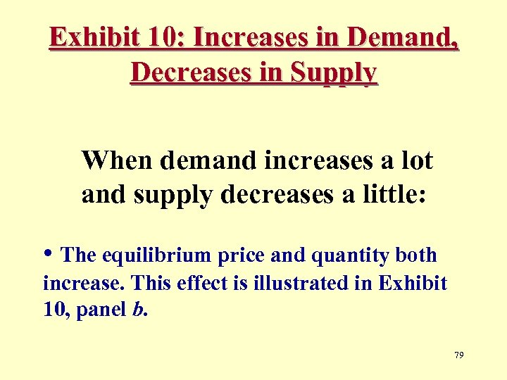 Exhibit 10: Increases in Demand, Decreases in Supply When demand increases a lot and