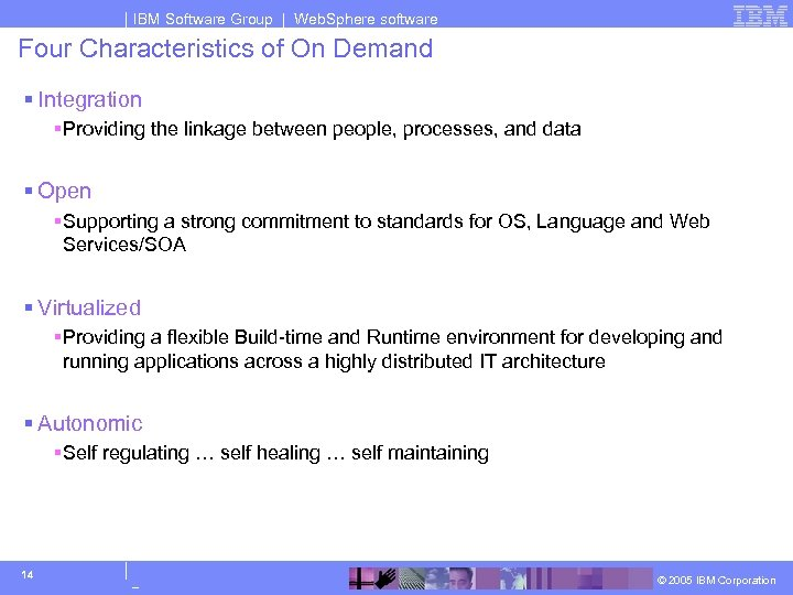 IBM Software Group | Web. Sphere software Four Characteristics of On Demand § Integration