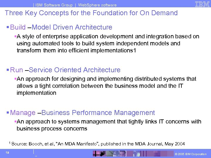 IBM Software Group | Web. Sphere software Three Key Concepts for the Foundation for